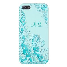 Aqua Blue  Flowers iPhone 5 Case. Customize this item to fit your wants and needs.