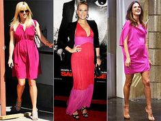 Want to brighten up your maternity wardrobe? Choose a berry-colored dress like celeb moms-to-be Reese, Molly and Alessandra. They're beautiful and perfect for all skin tones.