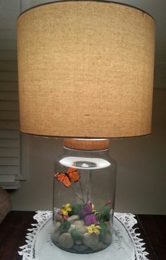 Butterfly scene lamp. Fillable lamp from Target.