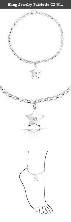 Bling Jewelry Patriotic CZ Modern Star Charm Sterling Silver Anklet 10in. Star light. Star bright. First star I see tonight. Get your wish with this star charm anklet. This star charm anklet is made of .925 sterling silver. This beautiful yet inexpensive ankle bracelet features a dangling star charm with a sparkling CZ in the middle on a rolo chain, and has a lobster claw clasp to ensure safe closure. Be the center of the universe when you wear this ravishing CZ silver star ankle…