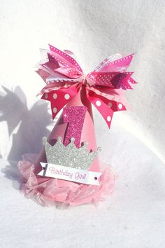 pink sparkly princess party hat with silver crown and polka dots light pink hot pink. $14.50, via Etsy.