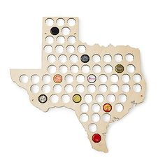 These birch plywood, state-shaped display boards are handsome holders for your bottle cap collection.