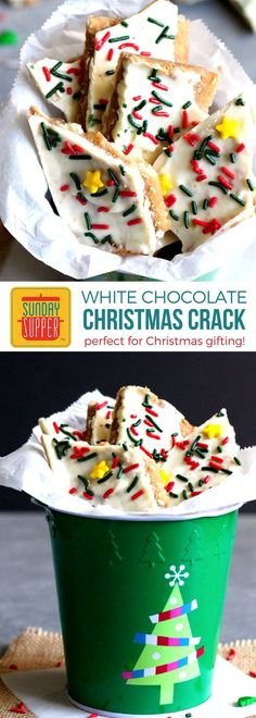 Our White Chocolate Christmas Crack Recipe is the EASIEST and most addicting treat you will make this holiday season. These treats will pack nicely in a little goodie bag tied up with a pretty bow, PERFECT forHomemade Holiday Food Giftsfor Christmas gifting or adding to your list of Buffet Menu Ideas for a quick dessert option! Kids and adults alike will LOVE this White Chocolate Christmas Crack!! #holidayrecipes #christmasrecipes #foodgift #easyrecipe