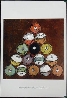 $19.99  Billiards ART Print THE Rack BY Deann Hebert | eBay #bar #art #pool