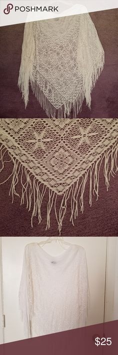 "Delicate Knit Lace Shawl w/Fringe Delicate & feminine w/a vintage flair! Color is a winter white/off white. Perfect over light camisole. Measures 25 1/2"" from neck edge to point where fringe begins. 100% Acetate. Hand wash cold/dry flat. Eyeshadow Accessories Scarves & Wraps"
