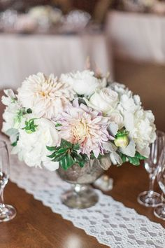 At Southern Weddings you'll find daily Southern wedding inspiration, real Southern weddings, and the best Southern wedding vendors. Dahlia Centerpiece, Centerpieces, Flower Decorations, Table Decorations, Romantic Wedding Flowers, Shabby Flowers, Southern Weddings, Flower Power, Wedding Inspiration