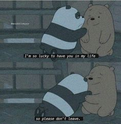 Ohh ☻ idk wether u are all fine with my persence wla this days 😂😂 but i am fine with yours ☻🌻 We Bare Bears Wallpapers, Panda Wallpapers, Cute Cartoon Wallpapers, Ice Bear We Bare Bears, We Bear, Cute Love Memes, Cute Quotes, Panda Triste, Cartoon Quotes