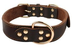 High Quality Top Grade Black Genuine Leather K9 Working Dog Pet Training Collars Heavy Duty For Medium and Large Dogs