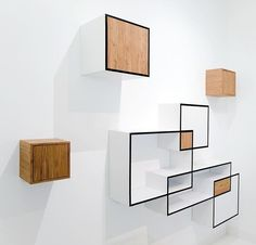 """""""Nebula"""" is a multifunctional designer wall unit which consists of four separate elements. It is currently on display in our showroom. Manufactured of high quality beech plywood finished with white laminate and teak veneer. Shelving Design, Modular Shelving, Shelf Design, Wall Design, Zen Furniture, Furniture Design, Furniture Storage, Contemporary Furniture, Etagere Design"""