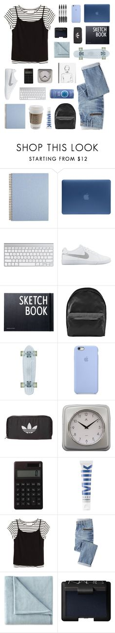 """""""back to school"""" by goldren-rod ❤ liked on Polyvore featuring Incase, NIKE, Design Letters, Acne Studios, Sharpie, adidas Originals, Infinity Instruments, Muji, MILK MAKEUP and Wrap"""