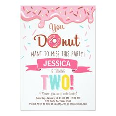 Donut Birthday Party Invitation doughnut Party