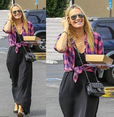 Molly Sims wearing our Hunter Pink/Purple. Molly Sims, Cute Tops, Pink Purple, Tartan, Graphic Tees, Celebrity, Street Style, Fashion Outfits, Pop