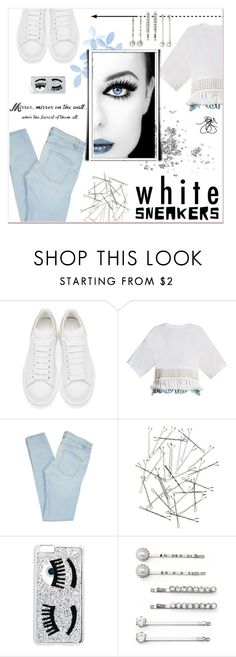 """Bright white sneakers"" by faigylefkowitz ❤ liked on Polyvore featuring Alexander McQueen, 3.1 Phillip Lim, Marc by Marc Jacobs, Monki, Chiara Ferragni and Elle"