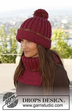 "Knitted DROPS hat and neck warmer in English rib with edges in garter st in ""Eskimo"". Size S - L. ~ DROPS Design"
