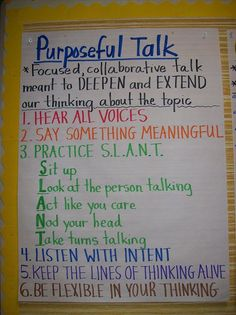 anchor charts for middle school science | purposeful talk anchor chart | School