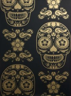 Day of the Dead Skull design by Emily Evans of AnatomyUK is incredible! The wallpaper was specially designed for two Latin-themed bars located in London