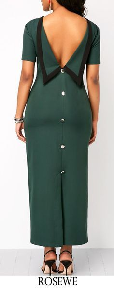 Slit Back Button Detail Green Maxi Dress. : Slit Back Button Detail Green Maxi Dress. African Fashion Designers, African Fashion Dresses, African Dress, African Outfits, African Style, Sexy Dresses, Dress Outfits, Fashion Outfits, Womens Fashion