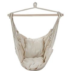 Swing Hanging Hammock Chair With Two Cushions (White) ARAD