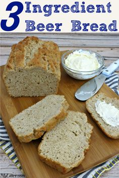 ~This 3 Ingredient Beer Bread Recipe is so easy & delicious! It goes great with… ~ This beer bread recipe is so easy and delicious! Serve with a hearty stew and a salad for a full meal. A fast bread recipe that everyone will ask again and again ~. Beer Bread Recipe Yeast, 3 Ingredient Beer Bread Recipe, 3 Ingredient Recipes, Earth Bread Recipe, Beer Bread Recipe All Purpose Flour, 3 Ingredient Dinners, Honey Beer Bread, No Yeast Bread, Rosemary Bread