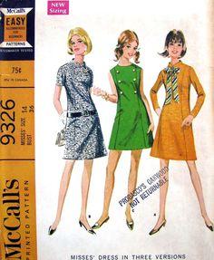 9f75ed24b0a1 60s Dress Mini or regular length Mccalls Patterns, Vintage Sewing Patterns, Dress  Patterns,