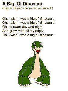 A Big 'Ol Dinosaur song. Dinosaur Theme Preschool, Dinosaur Activities, Preschool Music, Preschool Lessons, Toddler Preschool, Preschool Activities, Dinosaur Dinosaur, Dinosaur Rhymes, Dinosaur Songs For Kids