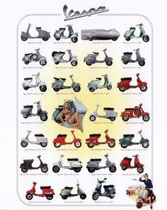 Vespa through the years.  #ridecolorfully