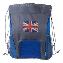 Tattered Grunge Patriotic British UK Flag Drawstring Backpack
