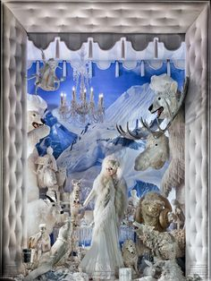 """Polar Garden Party"" Winter window display @ Bergdorf's"