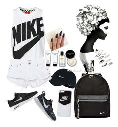 """""""black white NIKE <3"""" by selmaadis ❤ liked on Polyvore featuring NIKE, One Teaspoon, Bobbi Brown Cosmetics and Topshop"""