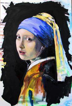 """Saatchi Art Artist Yuliya Vladkovska; Painting, """"Johannes Vermeer remake :-) girl with a pearl earring"""" #art"""