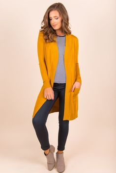 The Everyday Boyfriend Cardigan, Mustard - The Mint Julep Boutique Mustard Cardigan Outfit, Cardigan Outfit Summer, Yellow Cardigan, Cardigan Outfits, Yellow Blazer, Casual Skirt Outfits, Summer Outfits, Winter Outfits, Trends