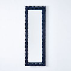 Upholstered Floor Mirror - Ink Blue Velvet #westelm