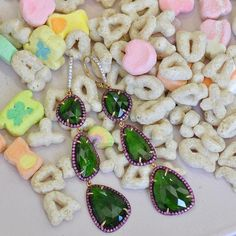 Green with Tourmaline envy for these Green Tourmaline slice earrings surrounded by Pink Sapphire by Ricardo Basta Fine Jewelry  ✨ green slice earrings #ricardobasta #aotd #earrings