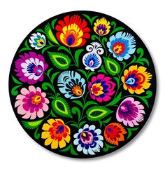 Modern Folk Embroidery - Embroidery Patterns- Modern Folk Embroidery – Embroidery Patterns Black mouse pad with a folk-style pattern - Folk Art Flowers, Flower Art, Folk Embroidery, Embroidery Patterns, Ethno Design, Folk Print, Polish Folk Art, Russian Folk Art, Scandinavian Folk Art