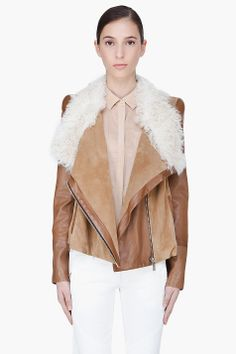 Barbara Bui Brown Tonal Shearling Zip Jacket