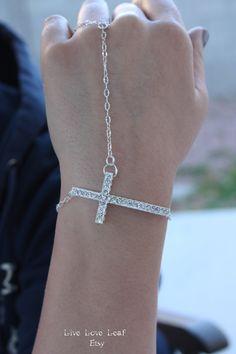 Silver plated Rhinestone Sideways Cross Slave bracelet / Hand chain by LiveLoveLeaf, $17.00