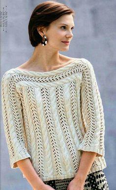 Pima Cotton Cabled Pullover - Got Yarn! Got Kits! Get Knitting! Diy Crochet Sweater, Crochet Jacket, Crochet Clothes, Knit Crochet, Crochet Outfits, Summer Knitting, Lace Knitting, Crochet Woman, Knitting Designs