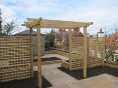 Pergola and raised vegetable beds - designed by Goose Green Design