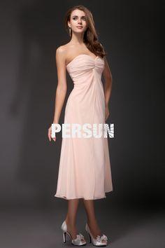 fc974646fd3 Robe rose mi longue simple plissé pour mariage bustier cœur -  Robedesoireelongue.fr