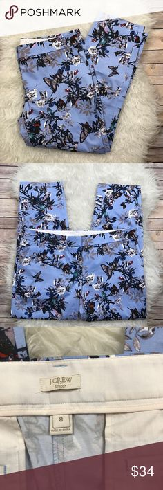 """J. Crew Factory Bird Print Skimmer Pants Excellent condition J. Crew Factory Skimmer Pant in Botanical Bird Print. Size 8. Stretchy 98% cotton, 2% spandex. Waistband 34"""", rise 9"""", inseam 26"""". No trades, offers welcome. J. Crew Factory Pants Ankle & Cropped"""