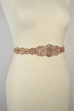 Rose Gold Crystal Bridal All around Sash by BlueSkyHorizons