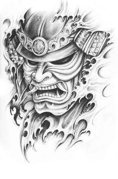 sketch of a samurai mask Samurai Maske Tattoo, Samurai Warrior Tattoo, Warrior Tattoos, Samurai Tattoo Sleeve, Warrior Tattoo Sleeve, Kunst Tattoos, Body Art Tattoos, Tattoo Drawings, Sleeve Tattoos