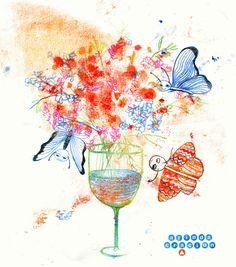 Thema gestern war #Weinglas - hier als Vase! Bin immer noch etwas hinterher mit dem Themen nach dem Kurzurlaub :-) #illustration #monotype #illuart #illustrationart #butterfly #schmetterling #drawdaily #drawingoftheday #wallart  #berlinillustration #floralillustration #artlicensing #collageart #creativeberlin #flowerstagram #makearteveryday #illustratorenorganisation #drawdrawdraw #drawingchallenge #sketchbook #365doodlesmitjohanna @byjohannafritz #blumenvase #100daysofmonotypes