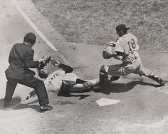 Ernie Sisto/The New York Times. Willie Mays Scoring on a Close Play at the Plate in Polo Grounds. May 2, 1952