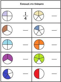 Σχετική εικόνα First Grade Math Worksheets, Fractions Worksheets, Math Classroom, Kindergarten Math, Preschool Art Activities, Powerpoint Background Design, Maths Puzzles, Montessori Toddler, Math For Kids