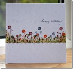I masked a 5 cm band across a 15cm card blank using post-it notes and stamped flowers from Silhouette Sentiment in Night of Navy, Pumpkin Pie and Cherry Cobbler.  I finished it off by blending Old Olive along the bottom of the frame using Cut 'n' Dry.  After removing the post-it notes I used the piercing mat from Stampin' Up to frame it.