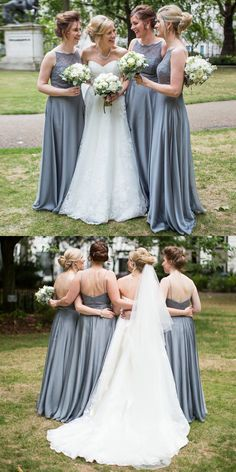 simple grey bridesmaid dresses, long lace bodice bridesmaid dresses, backless bridesmaid dress with lace