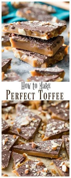 How to make the BEST Toffee Recipe! Includes plenty of tips and tricks for perfect, giftable toffee! via How to make the BEST Toffee Recipe! Includes plenty of tips and tricks for perfect, giftable toffee! via Sugar Spun Run Toffee Bark, Toffee Candy, Toffee Cookies, Toffee Dip, Toffee Cupcakes, Toffee Popcorn, Saltine Toffee, Chip Cookies, Health Desserts