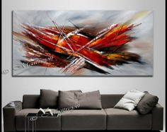 Fighter Plane Large Abstract painting Wall Art by largeartwork