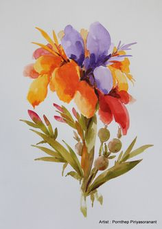Flower Painting , Watercolor Painting , Original painting  size 11 x 15 inch, Floral arts , Arts inspiration & décor no. 32 by OrientalArt2029 on Etsy